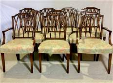 Ten George III Style Mahogany Dining Chairs by Bittners