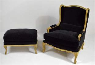 Louis XV Style Library  Armchair and Ottoman