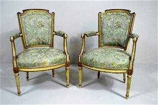 Pair of Louis XVI Polychrome Armchairs