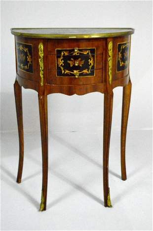 Louis XV Style Demilune Kingwood Side Table