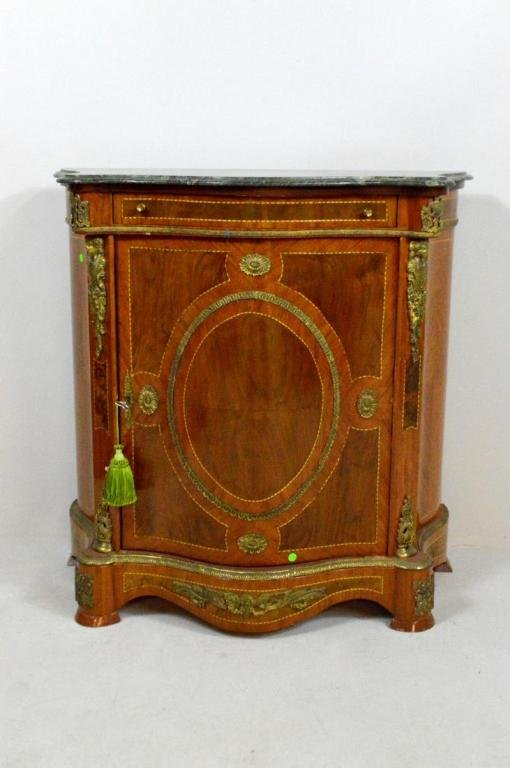 Louis XV Style Marble Top Side Cabinet