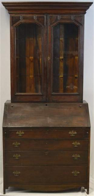George III Style Walnut Secretary, with Later Bookcase
