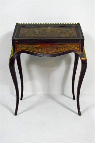 Louis XV Style Boulle Work  Slant Top Desk