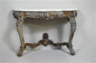 Continental Rococo Revival Marble Top Pier Table