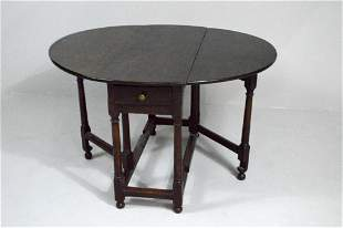 William and Mary Oak Gate-Leg Table, Circa 1860