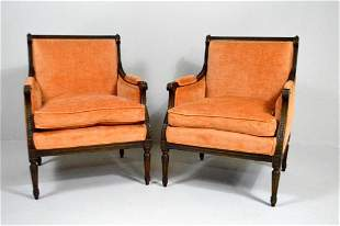Pair of Louis XVI Style Walnut Bergeres