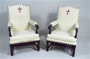 Pair of William and Mary Style Armchairs