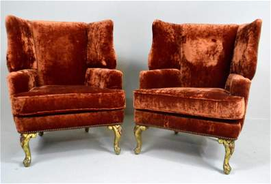 Pair of George III Style Wingback Armchairs