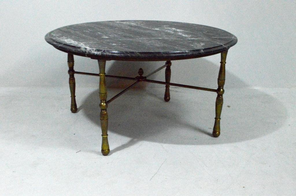 Black Marble and Brass Round Coffee Table