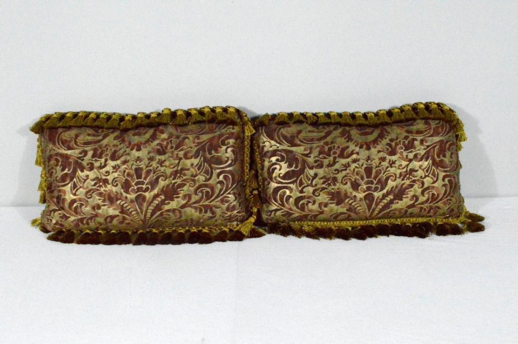 Pair of Silk Damask Pillows