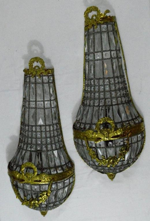 Pair of Louis XVI Style Crystal Two Light Sconces
