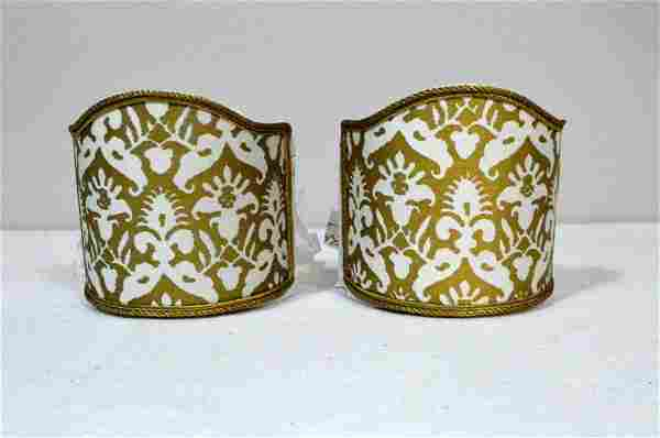 Four Fortuny Gold Delphino Pattern Sconce Shades