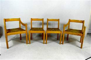 Set of Four Wood Chairs with Rush Seats