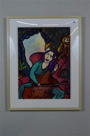 Tatjana Krizmanic, Pastel of Woman Playing the Cello