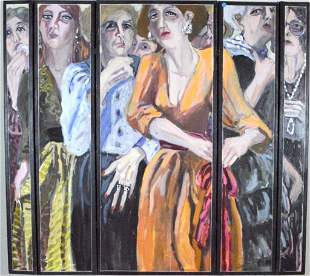 Oil on Screen with Eight Women by Ann Stewart Anderson