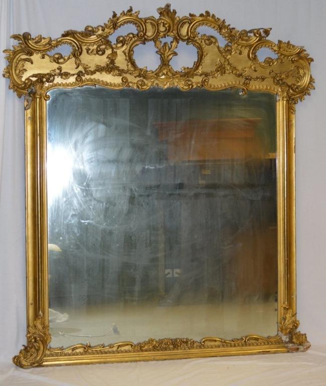 Substantial Rococo Revival Gilt  Wood Mirror