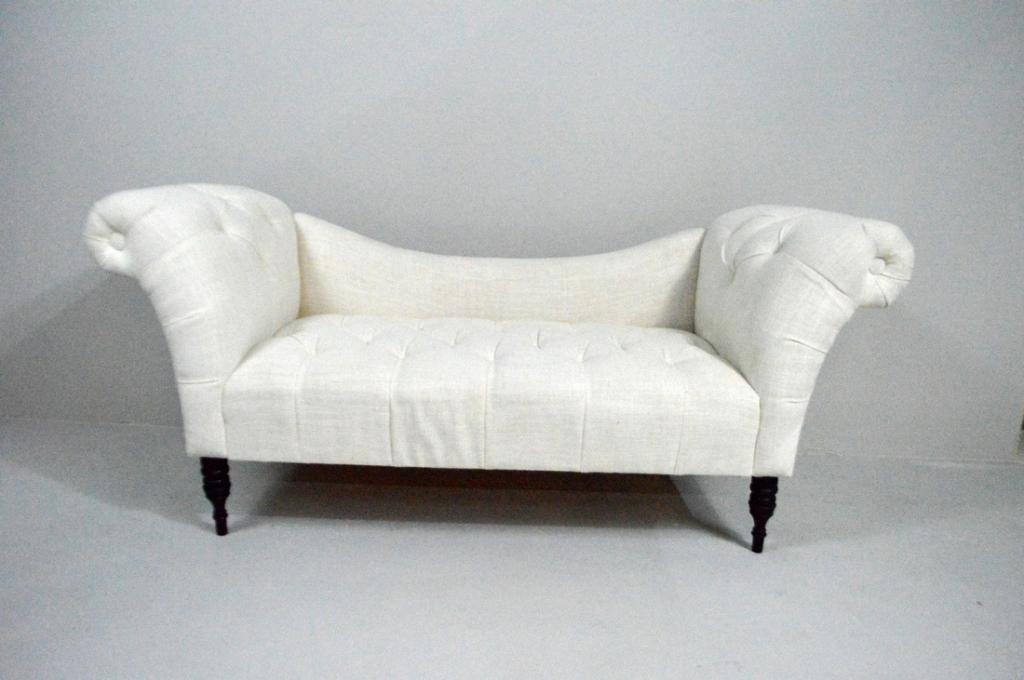 White Linen Upholstered Winged Sofa