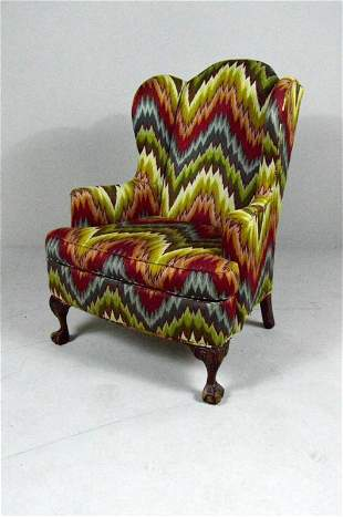George III Style Library Wingback  Armchair