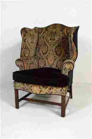 George III Style Mahogany Wingback Chair