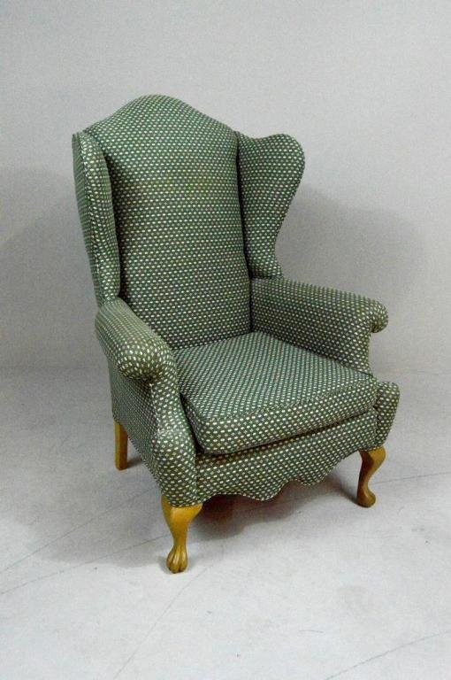 Queen Anne Style Wingback  Armchair