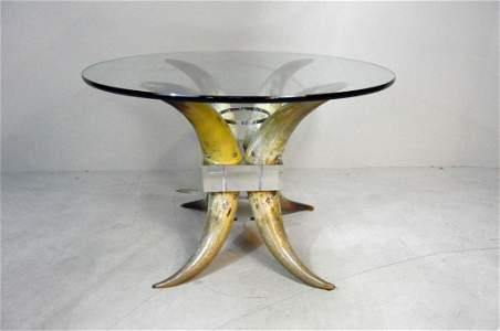 Lorin Marsh Horn and Lucite Glass Top Center Table