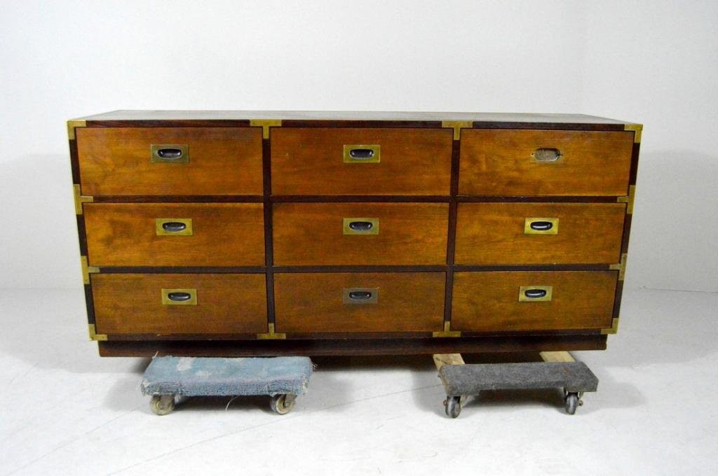 """Lane Walnut  """"Campaign Style"""" Chest of Drawers"""
