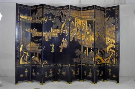 Chinese Eight-Panel Coromandel Lacquer Screen