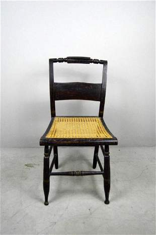 Antique American Sheraton Cane Seat Side Chair