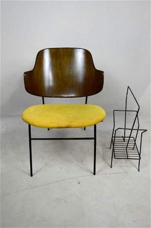 Mid Century Lounge Chair and Magazine Rack