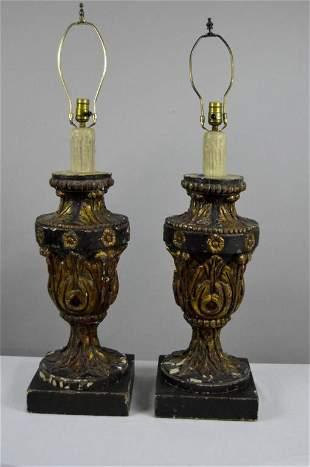 Pair of Vintage Gilt wood Lamps
