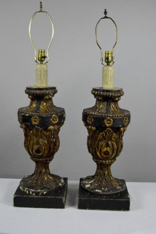 Pair of Vintage Gilt wood Lamps