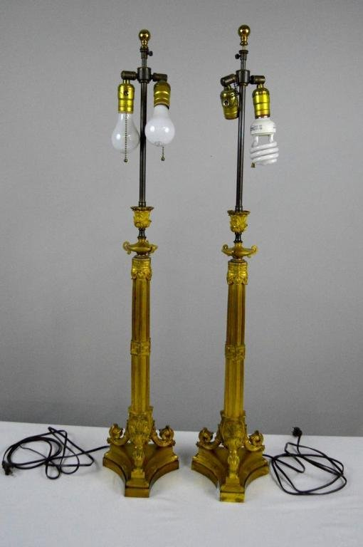Pair of Brass Pricket Sticks as Lamps