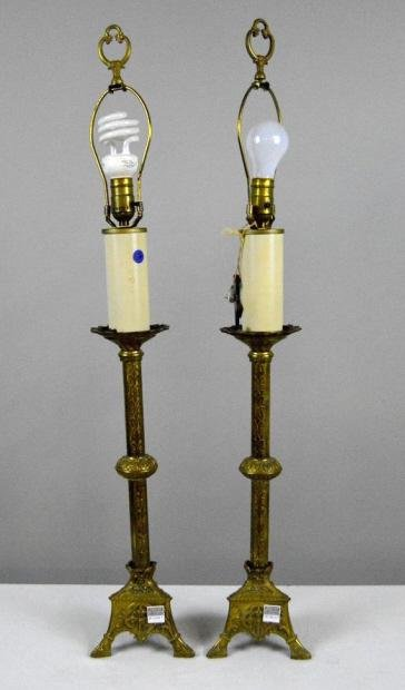 Pair of Faux Candlestick Brass Lamps