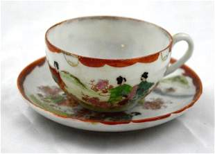 Handpainted Geisha Teacup and Saucer