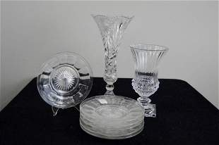 Two Cut Glass Vases and Six Plates