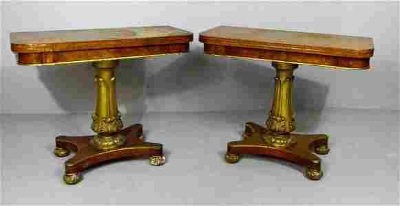 Pair of Regency Style Burl Wood Games Tables
