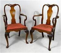 Pair of Queen Anne Style  Armchairs, C. 1880