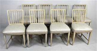 Set of Eight Gustavian Style Dining Chairs