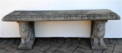Concrete Garden Bench with Lions