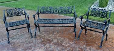 Victorian Three Piece Cast Iron Garden Set