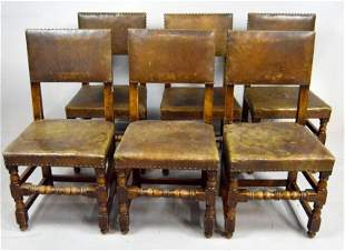 Six Jacobean Leather Dining Chairs