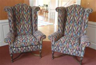Pair of William and Mary Style Wingback Chairs