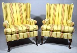 Pair of Queen Anne Style Wingback Armchairs