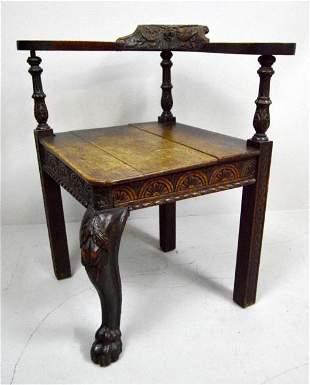 George II Oak Corner Chair, 18th C.