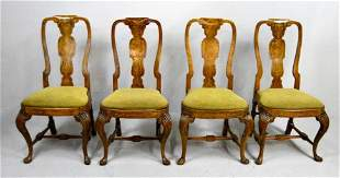 Set of Four Dutch Marquetry Side Chairs, 18th C.
