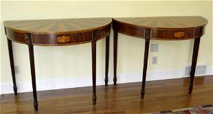 Pair of George III Style Mahogany Demilune Tables