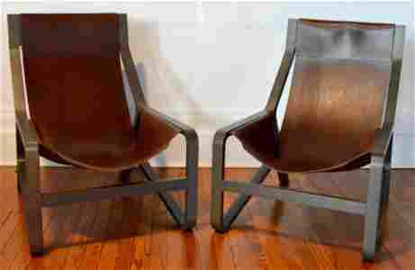 Pair of Italian Leather and Wood Lounge Chairs