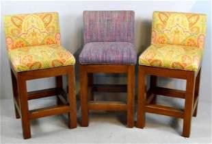 Three Upholstered Bar Stools