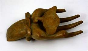 Hand Carved Wood Sculpture of Hand Holding a Leaf