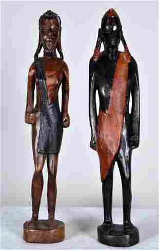 Two Figures of Maasai Warriors
